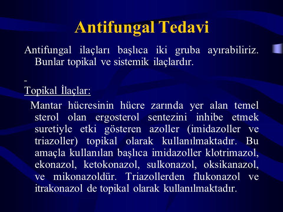Antifungal Tedavi Antifungal ilaçları başlıca iki gruba ayırabiliriz. Bunlar topikal ve sistemik ilaçlardır.