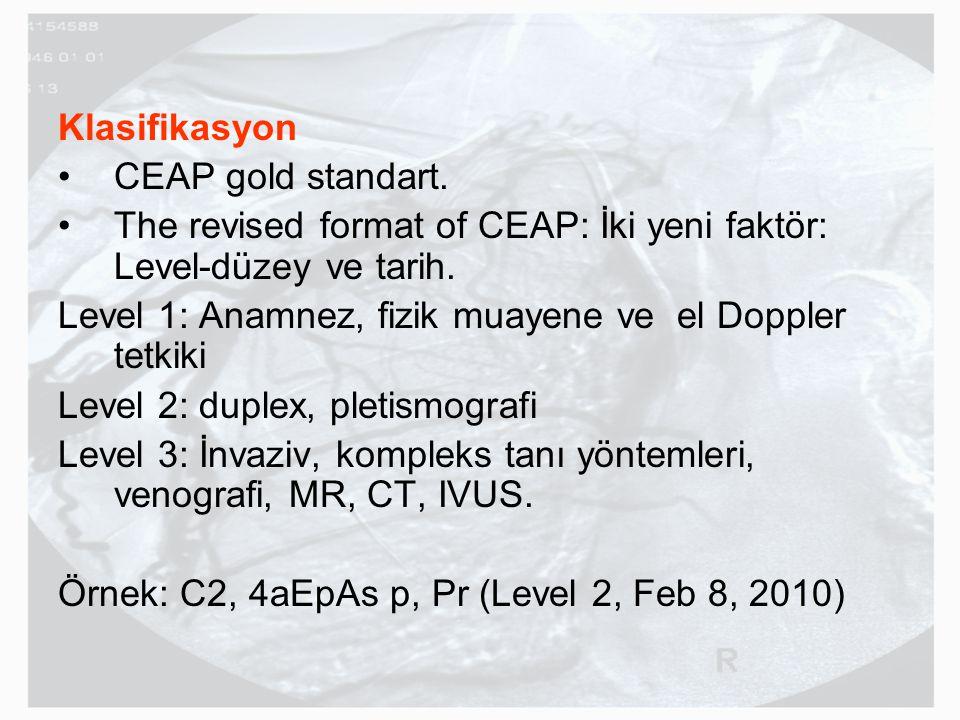 Klasifikasyon CEAP gold standart. The revised format of CEAP: İki yeni faktör: Level-düzey ve tarih.