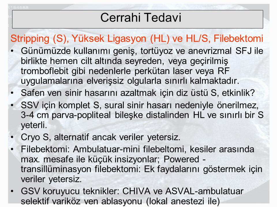 Cerrahi Tedavi Stripping (S), Yüksek Ligasyon (HL) ve HL/S, Filebektomi.