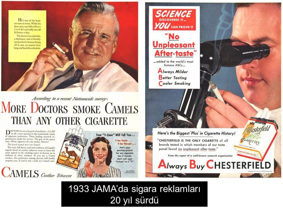 1933 JAMA'da sigara reklamları 20 yıl sürdü