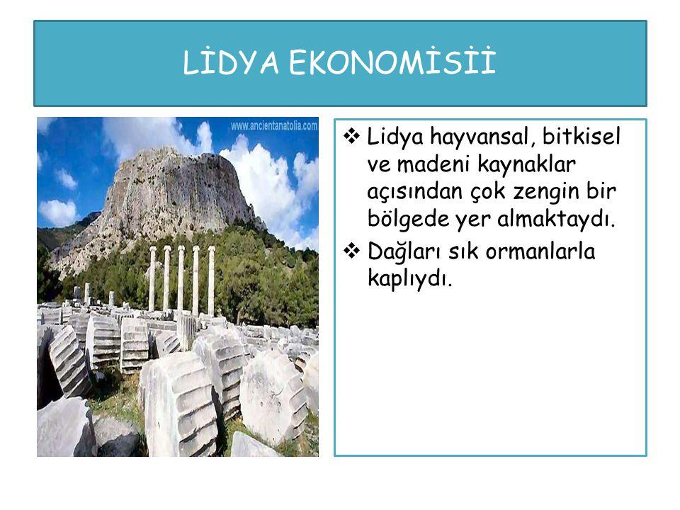 LİDYA EKONOMİSİİ Lidya hayvansal, bitkisel ve madeni kaynaklar açısından çok zengin bir bölgede yer almaktaydı.