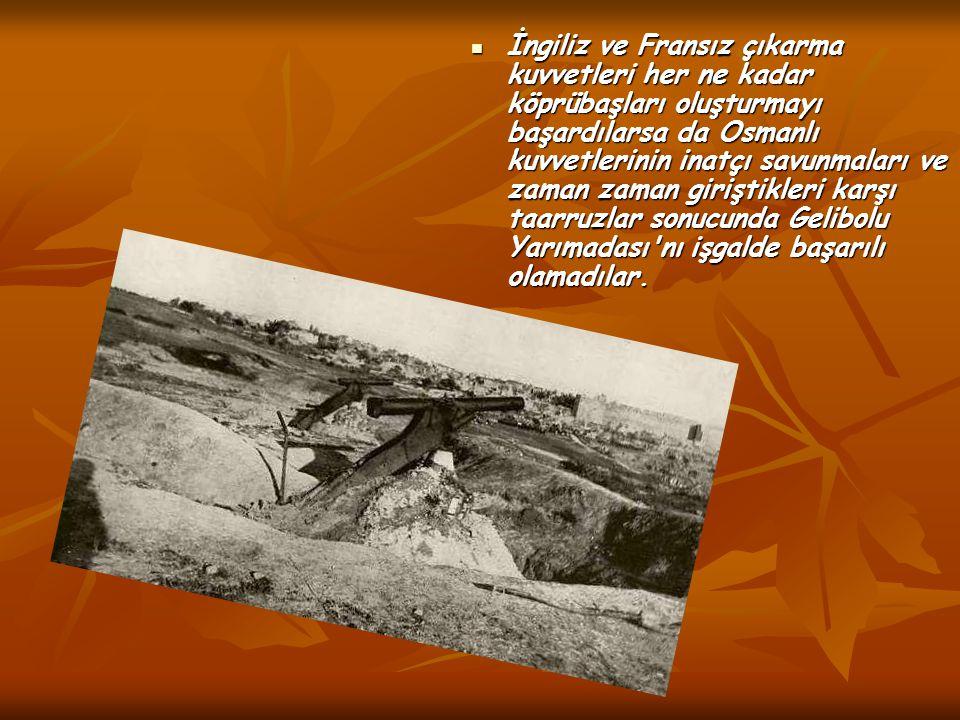 İngiliz ve Fransız çıkarma kuvvetleri her ne kadar köprübaşları oluşturmayı başardılarsa da Osmanlı kuvvetlerinin inatçı savunmaları ve zaman zaman giriştikleri karşı taarruzlar sonucunda Gelibolu Yarımadası nı işgalde başarılı olamadılar.
