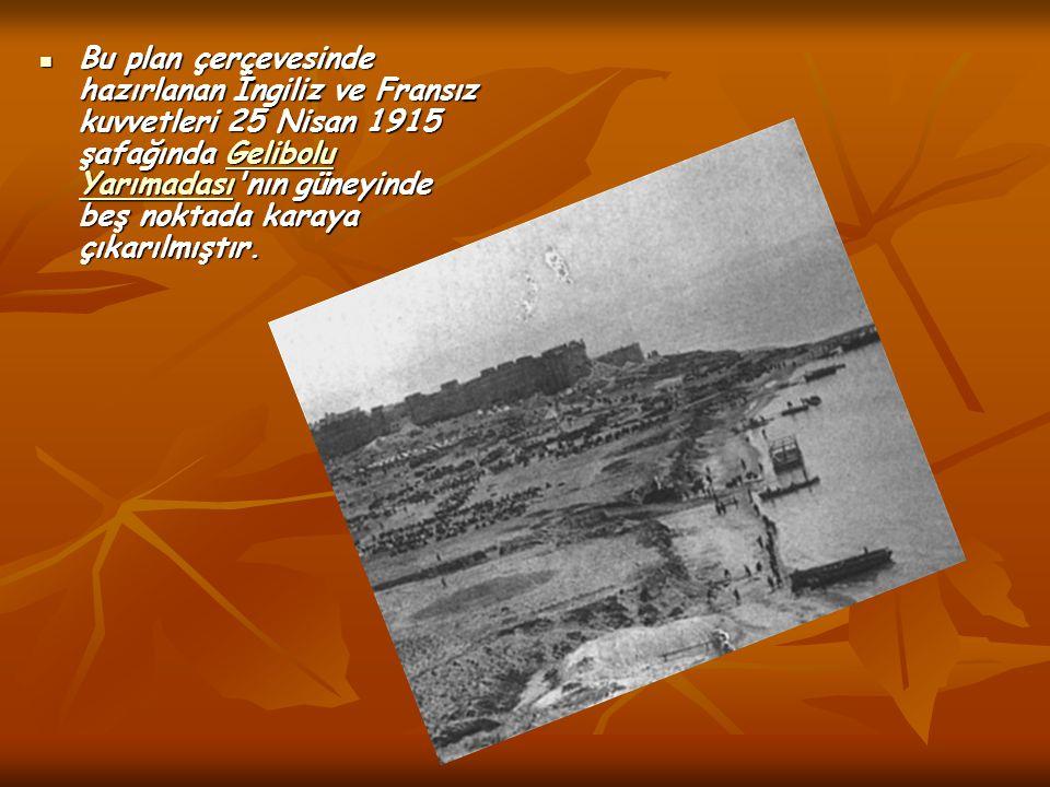 Bu plan çerçevesinde hazırlanan İngiliz ve Fransız kuvvetleri 25 Nisan 1915 şafağında Gelibolu Yarımadası nın güneyinde beş noktada karaya çıkarılmıştır.
