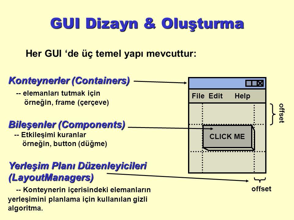 GUI Dizayn & Oluşturma Her GUI 'de üç temel yapı mevcuttur: