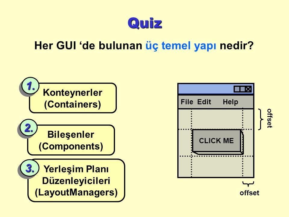 Her GUI 'de bulunan üç temel yapı nedir