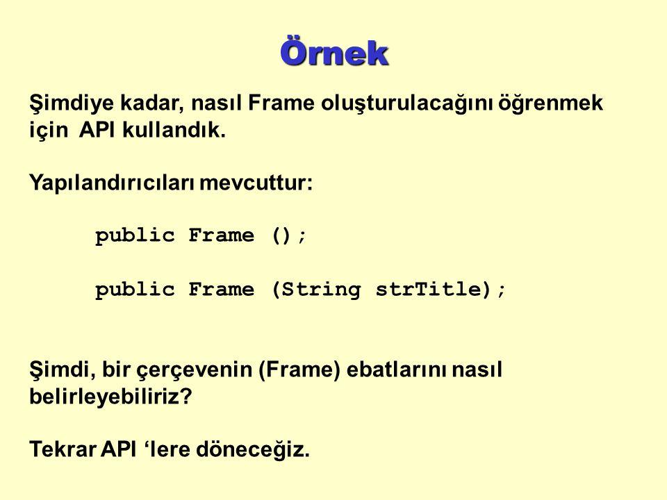Örnek Şimdiye kadar, nasıl Frame oluşturulacağını öğrenmek için API kullandık. Yapılandırıcıları mevcuttur: