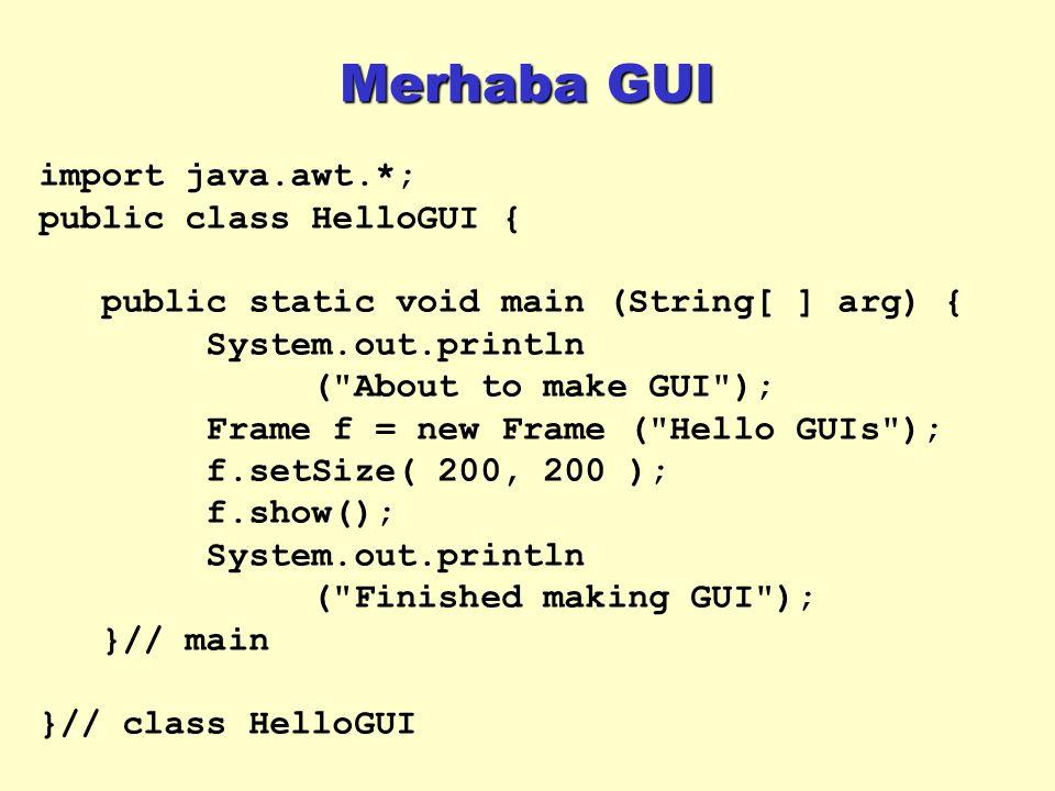 Merhaba GUI import java.awt.*; public class HelloGUI {