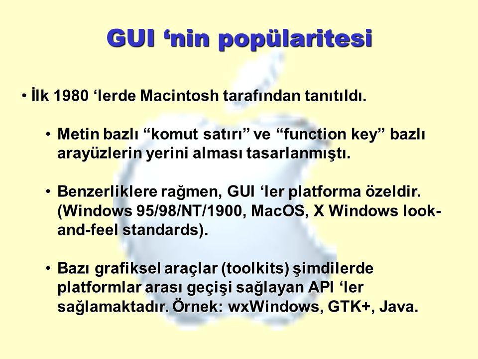 GUI 'nin popülaritesi İlk 1980 'lerde Macintosh tarafından tanıtıldı.