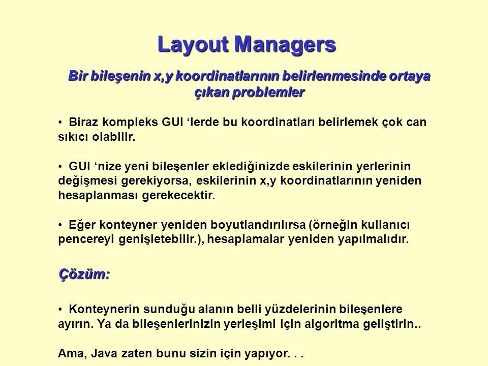 Layout Managers Bir bileşenin x,y koordinatlarının belirlenmesinde ortaya çıkan problemler.