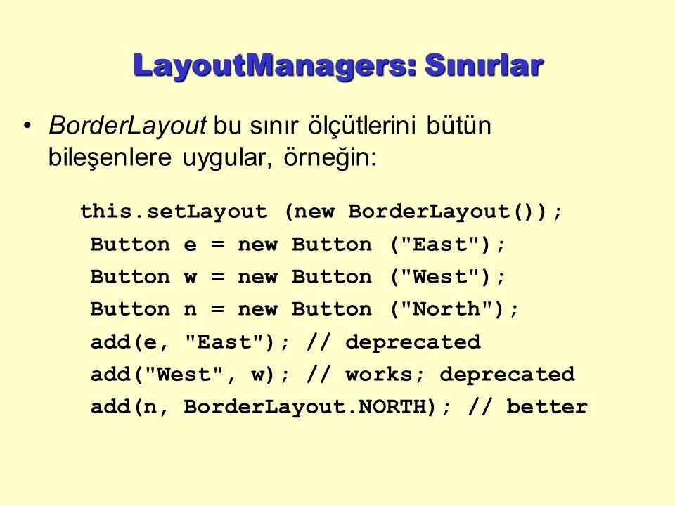 LayoutManagers: Sınırlar