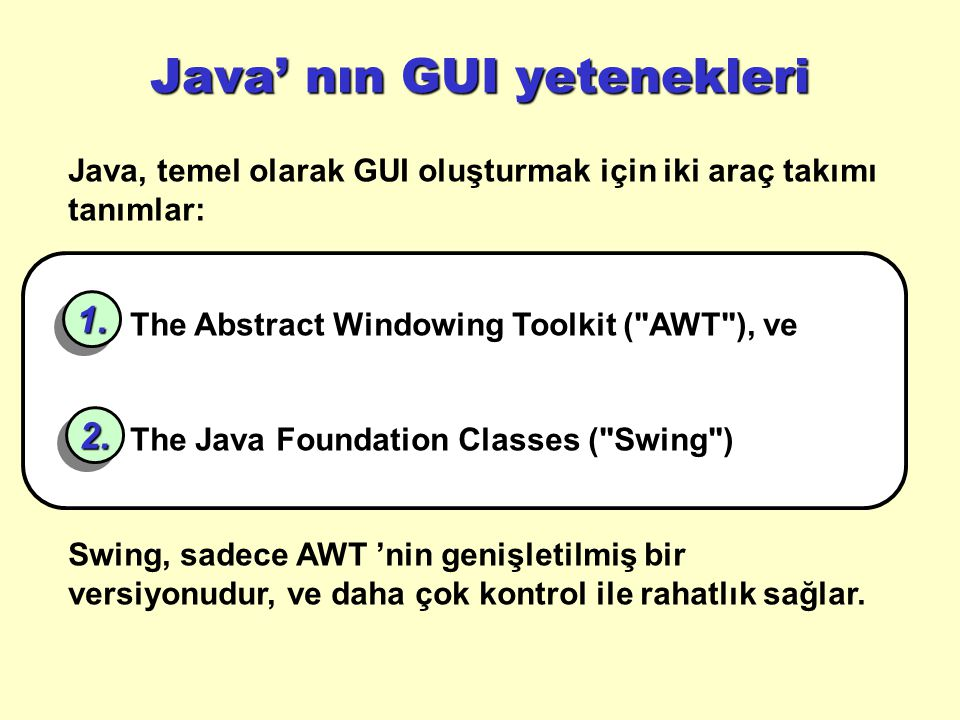 Java' nın GUI yetenekleri