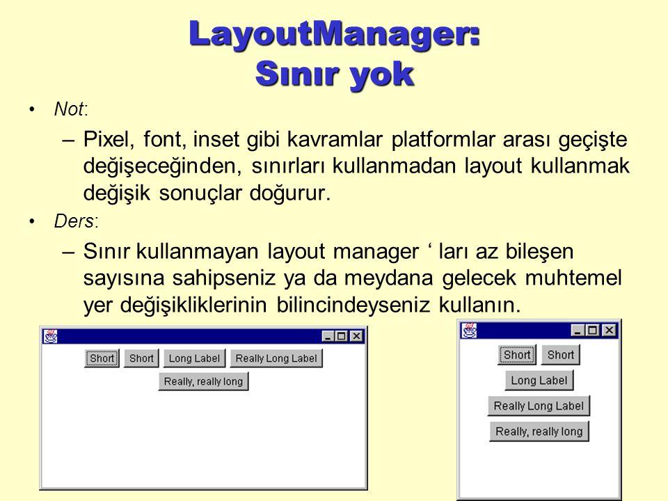 LayoutManager: Sınır yok