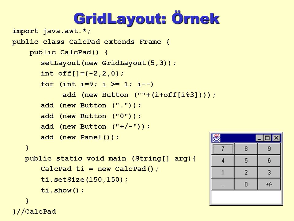 GridLayout: Örnek import java.awt.*;