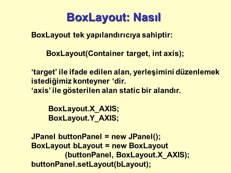 BoxLayout: Nasıl BoxLayout tek yapılandırıcıya sahiptir: