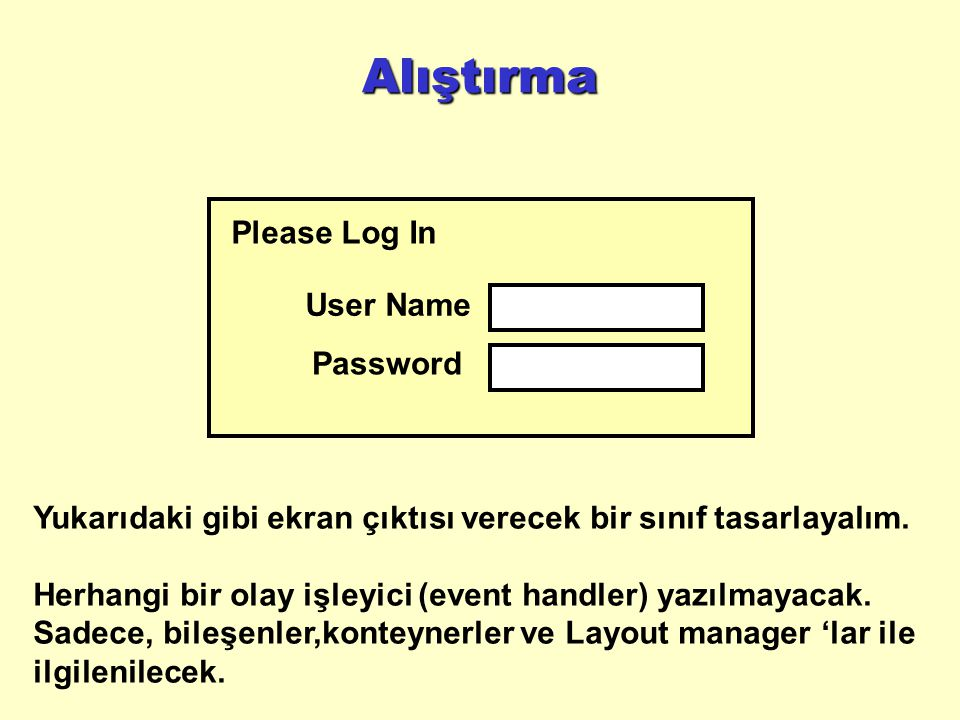 Alıştırma Please Log In User Name Password