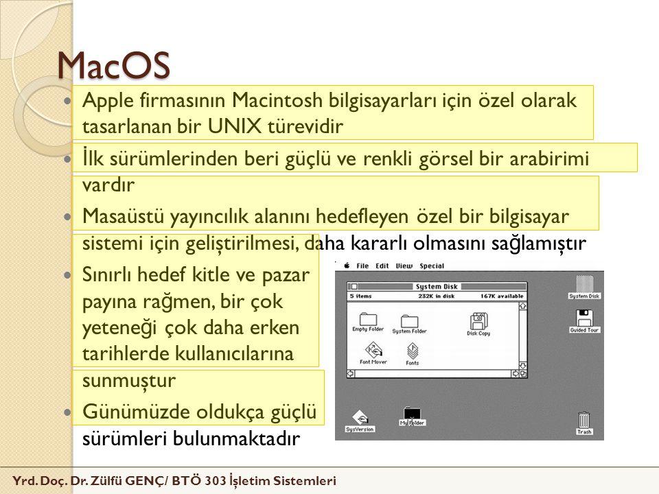 MacOS Apple firmasının Macintosh bilgisayarları için özel olarak tasarlanan bir UNIX türevidir.
