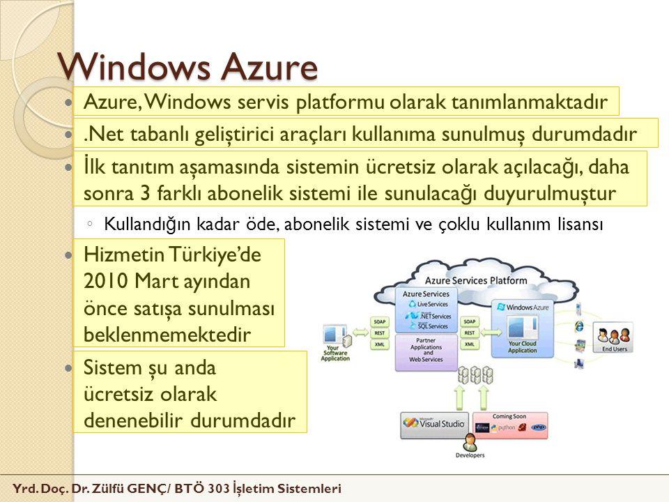 Windows Azure Azure, Windows servis platformu olarak tanımlanmaktadır