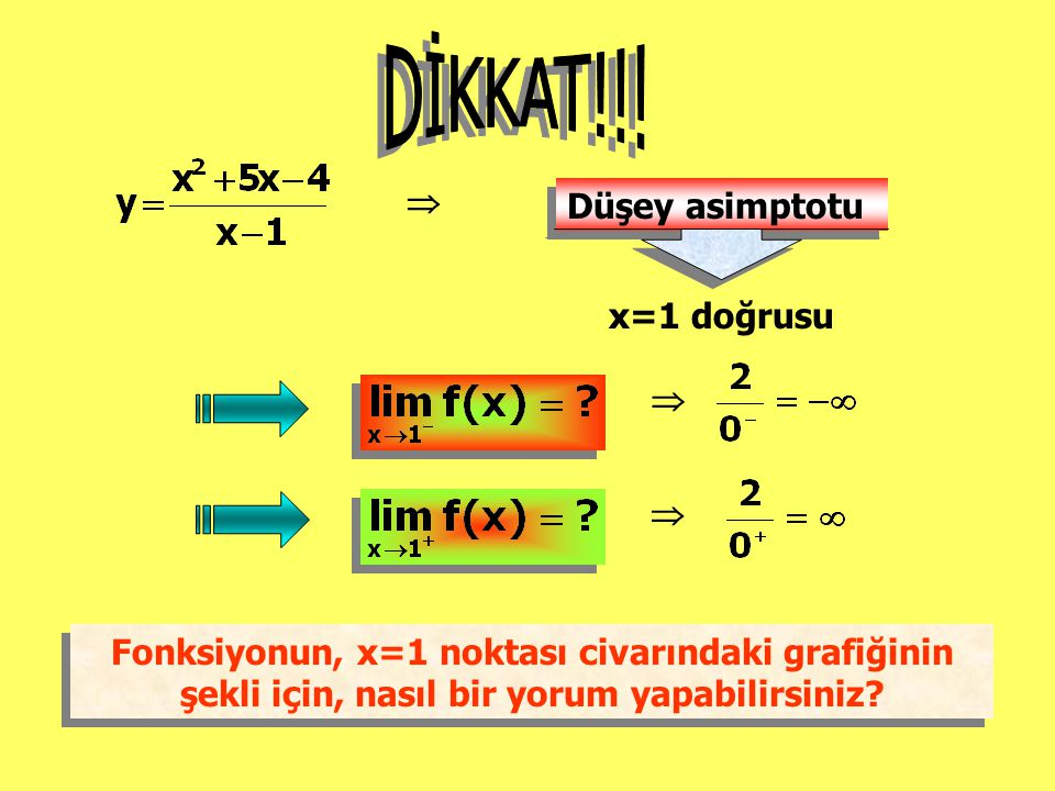 DİKKAT!!!  Düşey asimptotu x=1 doğrusu  