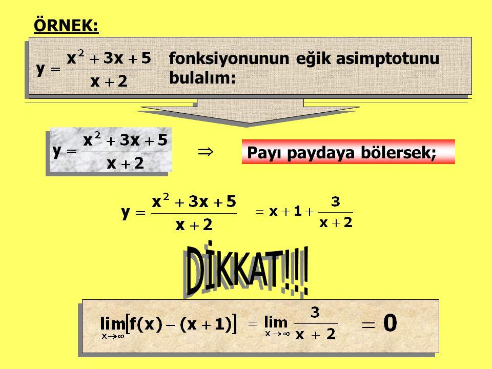 DİKKAT!!! ÖRNEK: fonksiyonunun eğik asimptotunu bulalım: 