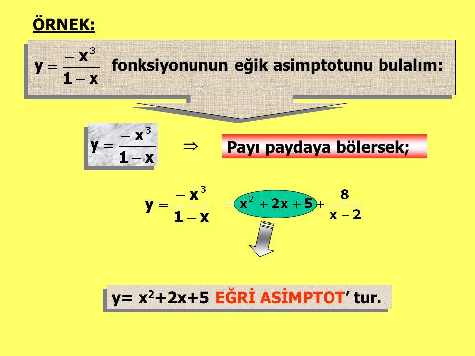 ÖRNEK: fonksiyonunun eğik asimptotunu bulalım:  Payı paydaya bölersek; y= x2+2x+5 EĞRİ ASİMPTOT' tur.