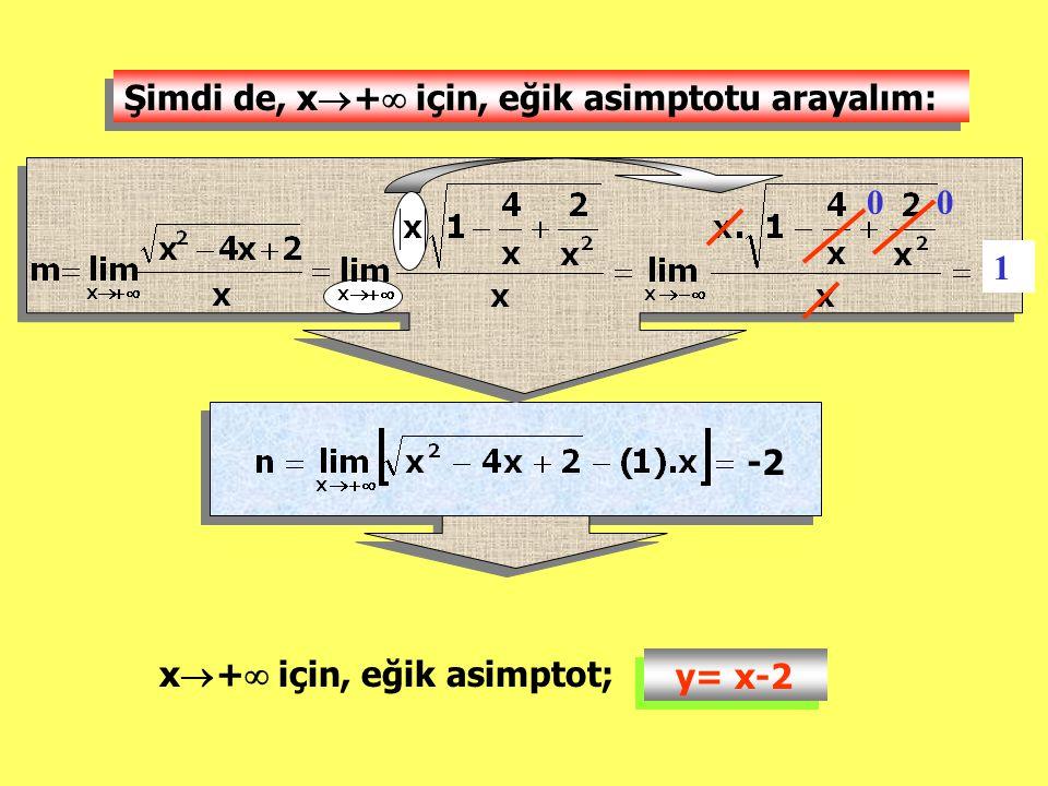 Şimdi de, x+ için, eğik asimptotu arayalım: