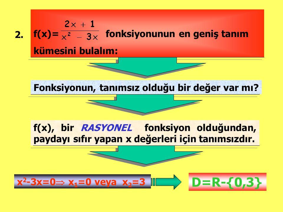 D=R-{0,3} f(x)= fonksiyonunun en geniş tanım kümesini bulalım: 2.