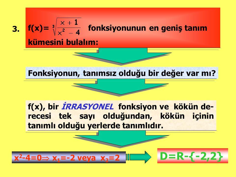 D=R-{-2,2} f(x)= fonksiyonunun en geniş tanım kümesini bulalım: 3.