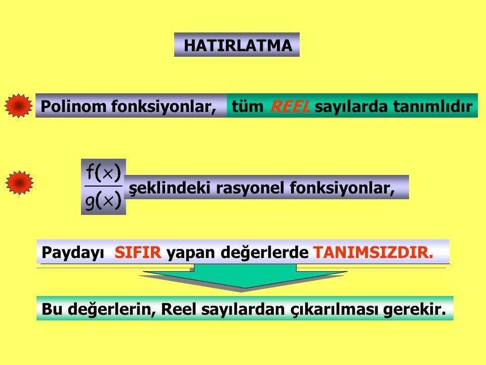HATIRLATMA Polinom fonksiyonlar, tüm REEL sayılarda tanımlıdır. şeklindeki rasyonel fonksiyonlar,