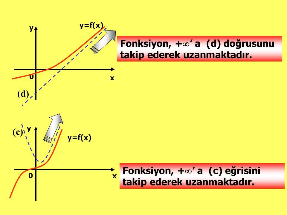 Fonksiyon, +' a (d) doğrusunu takip ederek uzanmaktadır.