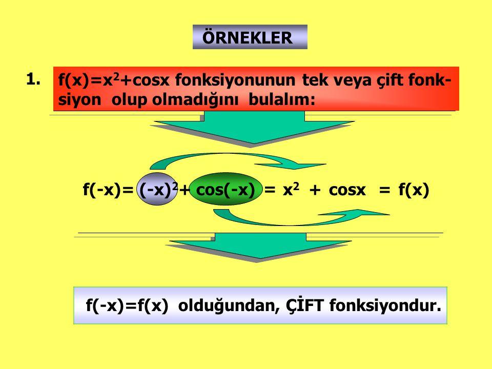 ÖRNEKLER 1. f(x)=x2+cosx fonksiyonunun tek veya çift fonk-siyon olup olmadığını bulalım: f(-x)= (-x)2+ cos(-x)