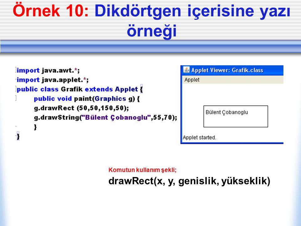 Örnek 10: Dikdörtgen içerisine yazı örneği