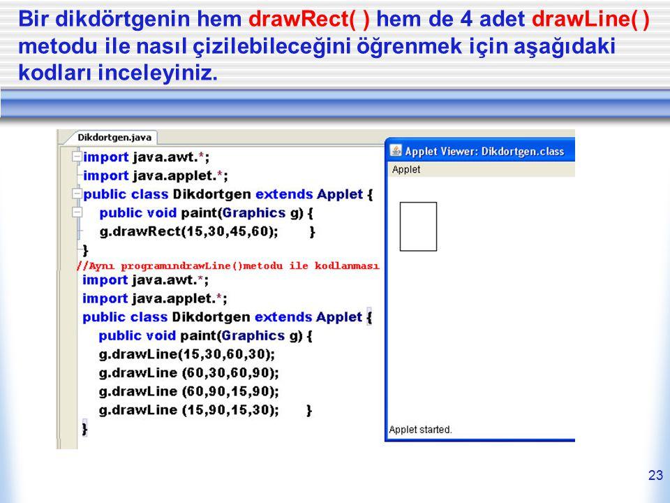 Bir dikdörtgenin hem drawRect( ) hem de 4 adet drawLine( ) metodu ile nasıl çizilebileceğini öğrenmek için aşağıdaki kodları inceleyiniz.