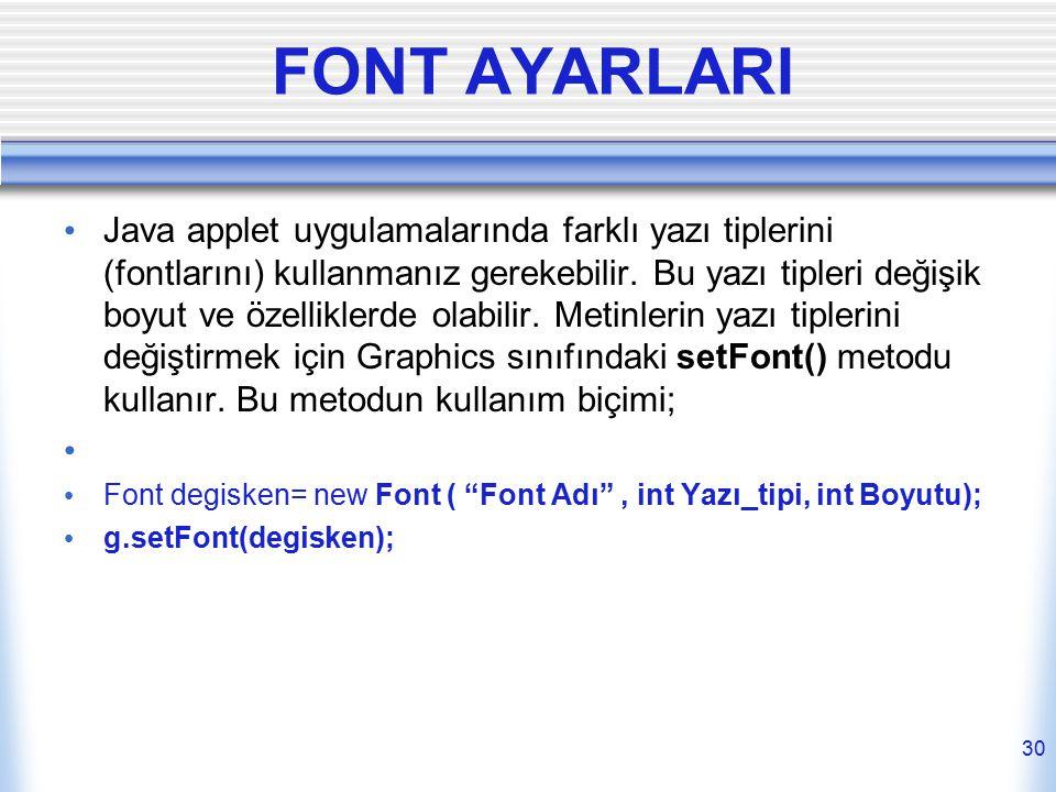 FONT AYARLARI