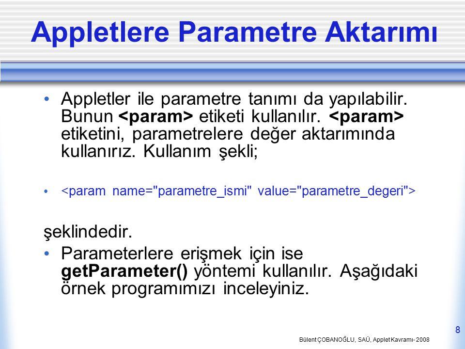 Appletlere Parametre Aktarımı