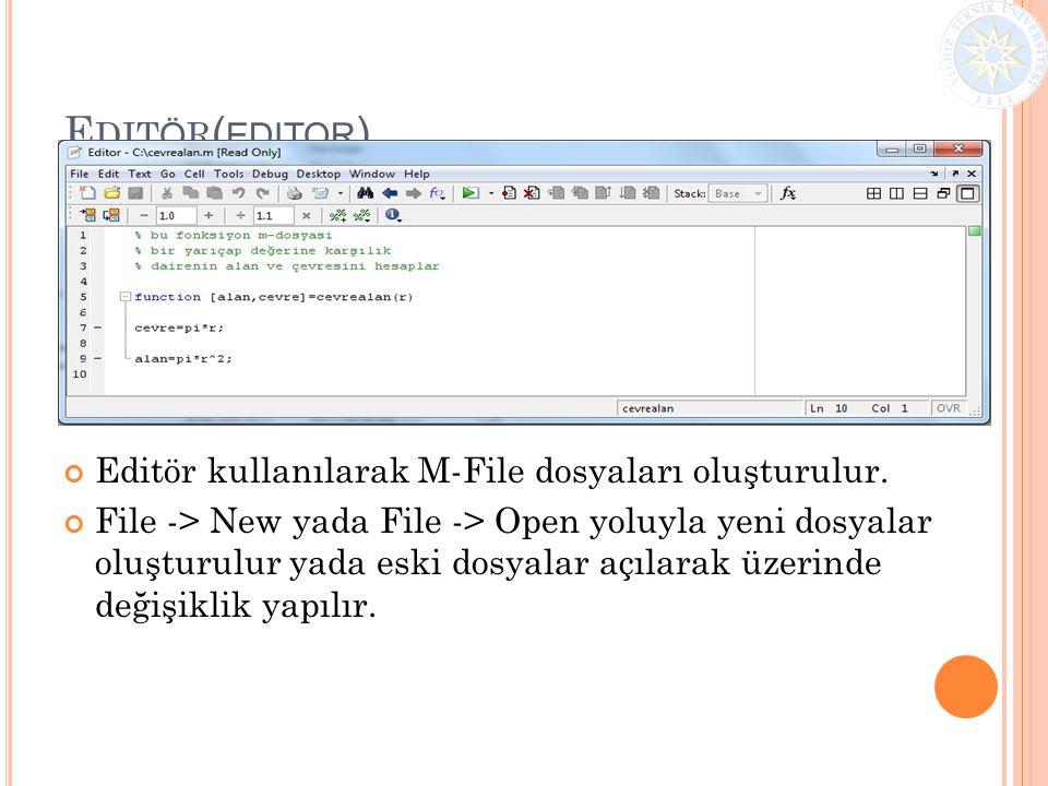 Editör(editor) Editör kullanılarak M-File dosyaları oluşturulur.