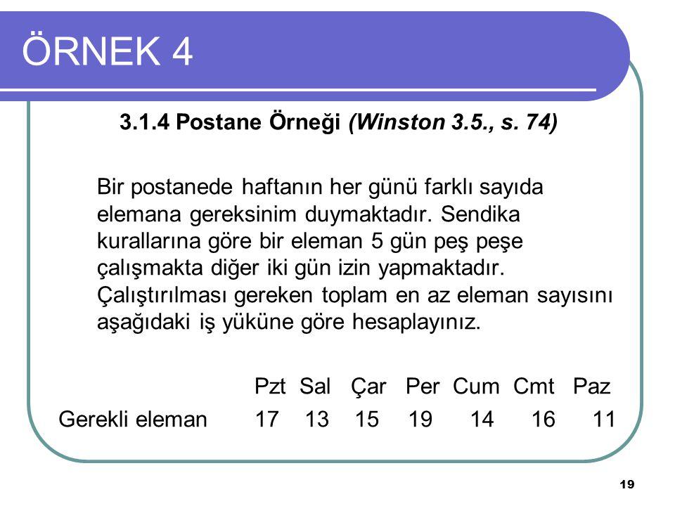 ÖRNEK 4 3.1.4 Postane Örneği (Winston 3.5., s. 74)