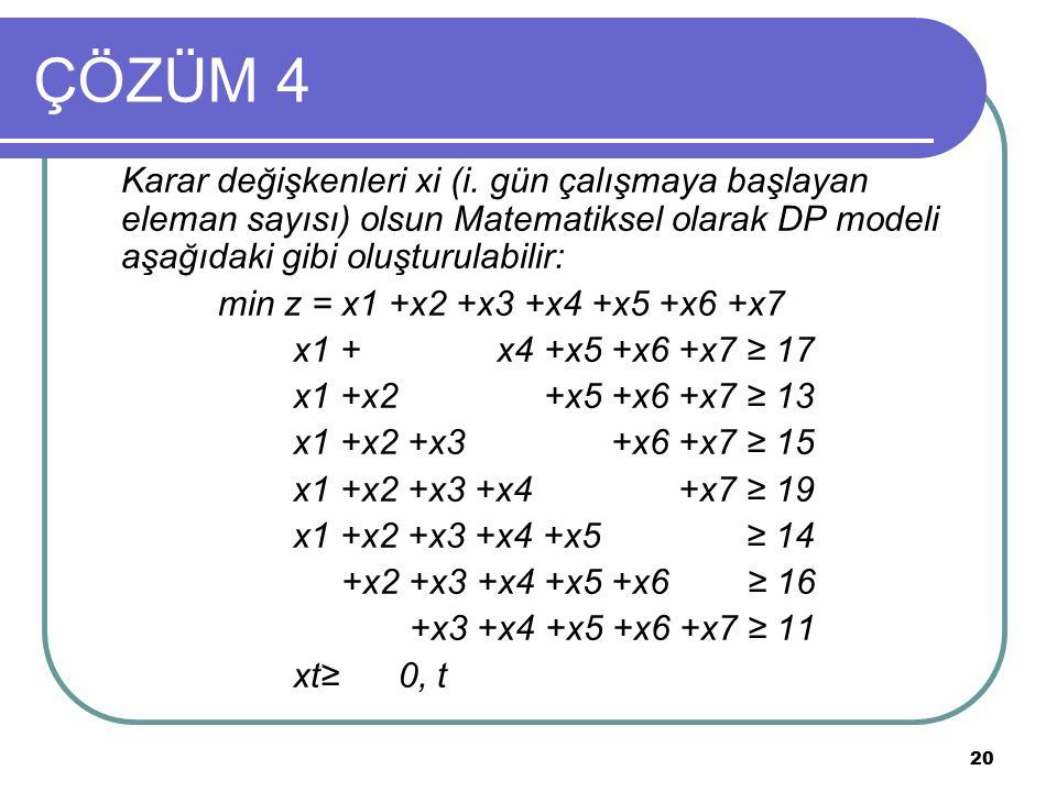 ÇÖZÜM 4 Karar değişkenleri xi (i. gün çalışmaya başlayan eleman sayısı) olsun Matematiksel olarak DP modeli aşağıdaki gibi oluşturulabilir: