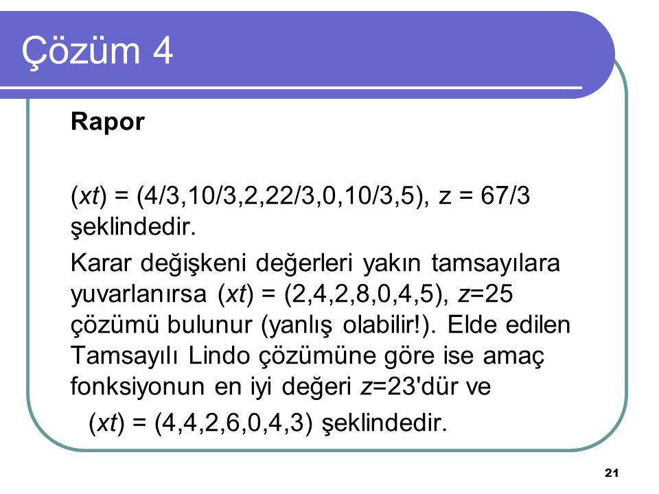 Çözüm 4 Rapor (xt) = (4/3,10/3,2,22/3,0,10/3,5), z = 67/3 şeklindedir.