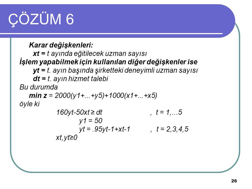 ÇÖZÜM 6 Karar değişkenleri: xt = t ayında eğitilecek uzman sayısı
