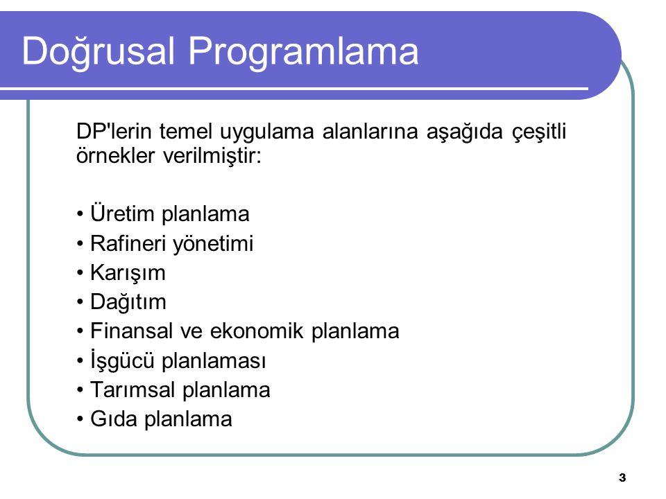 Doğrusal Programlama DP lerin temel uygulama alanlarına aşağıda çeşitli örnekler verilmiştir: • Üretim planlama.