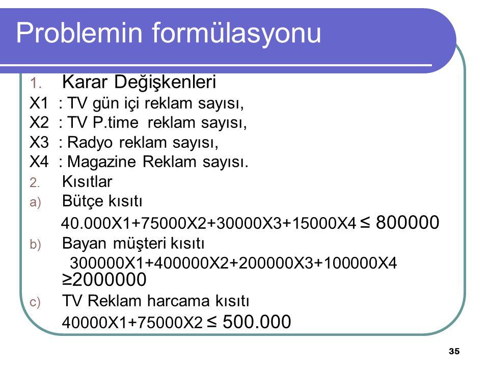 Problemin formülasyonu