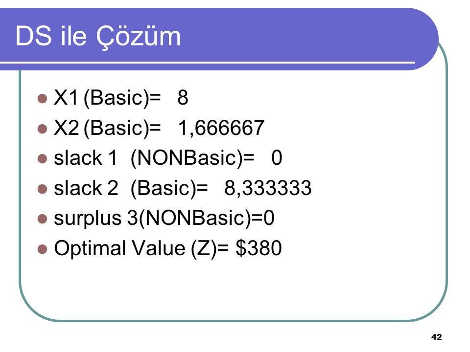 DS ile Çözüm X1 (Basic)= 8 X2 (Basic)= 1,666667 slack 1 (NONBasic)= 0