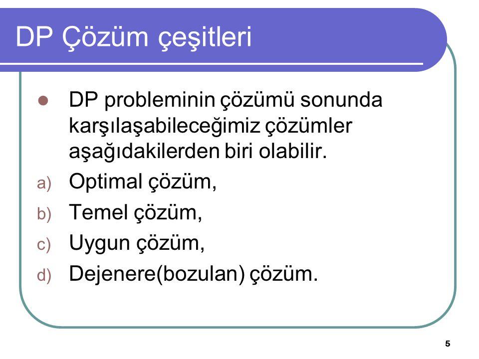 DP Çözüm çeşitleri DP probleminin çözümü sonunda karşılaşabileceğimiz çözümler aşağıdakilerden biri olabilir.