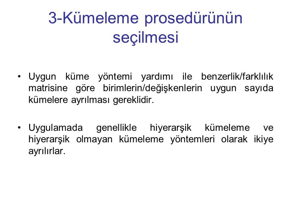 3-Kümeleme prosedürünün seçilmesi