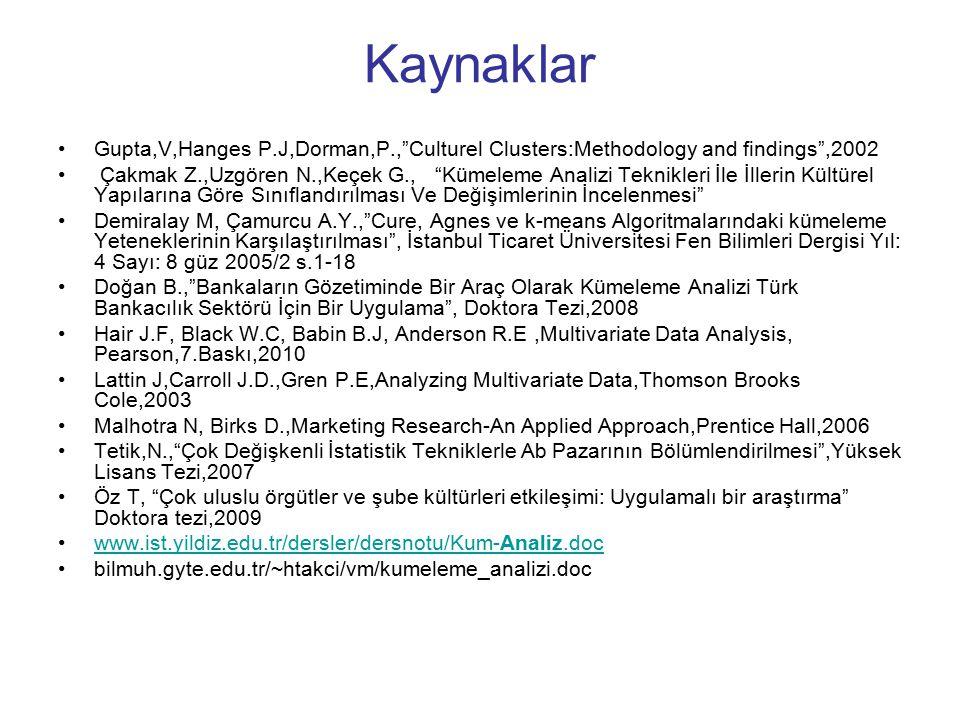 Kaynaklar Gupta,V,Hanges P.J,Dorman,P., Culturel Clusters:Methodology and findings ,2002.