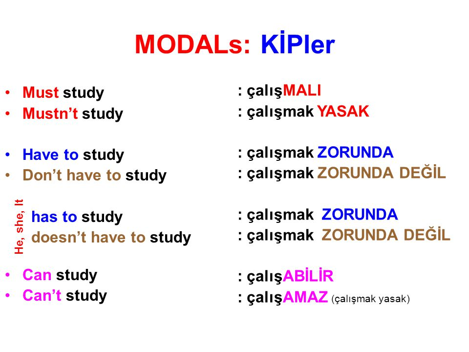 MODALs: KİPler Must study Mustn't study Have to study