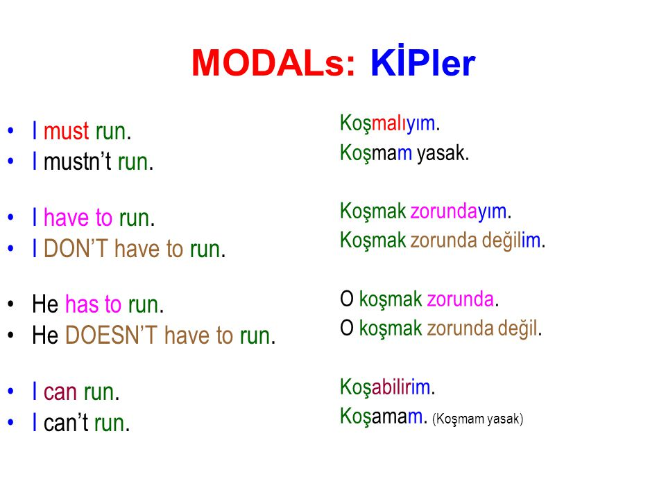 MODALs: KİPler I must run. I mustn't run. I have to run.