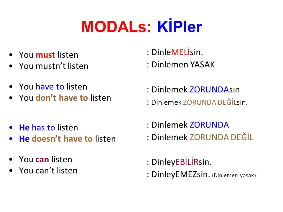 MODALs: KİPler : DinleMELİsin. You must listen : Dinlemen YASAK