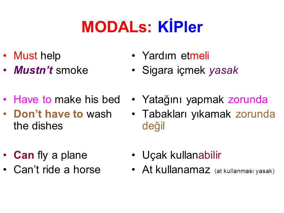 MODALs: KİPler Must help Mustn't smoke Have to make his bed
