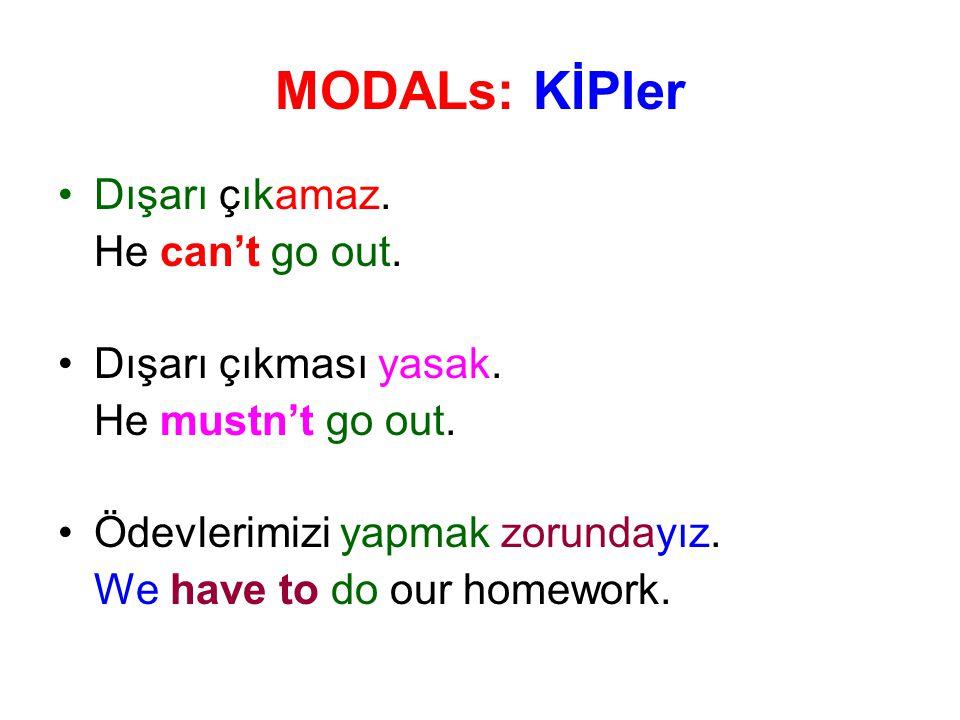 MODALs: KİPler Dışarı çıkamaz. He can't go out. Dışarı çıkması yasak.